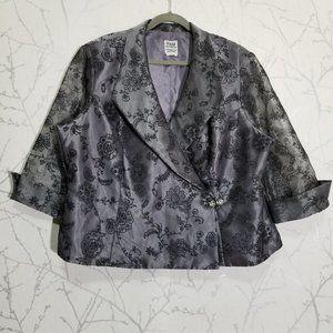 R&M Richards Gray Floral Embellished Wrap Blazer